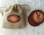 Leather Coasters set of 4 with Gift Bag