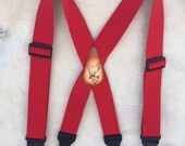 Santa Clause Red 2 inch wide Suspenders with a Reindeer leather Patch  Button style with leather tabs Extra Long 52 inch