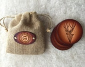 Leather Mule Deer Coaster set of 4 with Gift Bag