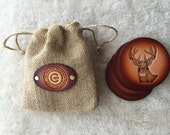 Leather Whitetail Deer Coaster set of 4 with Gift Bag