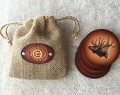 Leather Elk Coaster set of 4 with Gift Bag