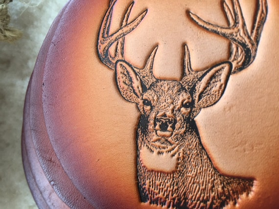 Hunting Gifts - White Tailed Deer Coasters Gifts for Hunters set of 4 Leather Coasters