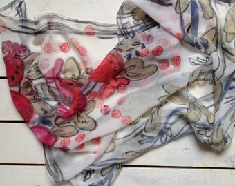 Soft red and white silk scarf.  Hand painted silk scarf. Ready to ship.