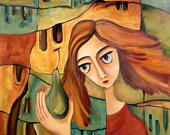 Eva with a pear. Original one-of-a-kind oil painting. Ready to ship.