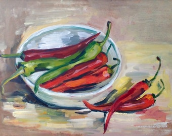 Red and green chili peppers original still life. One-of-a-kind oil painting. Ready to ship.