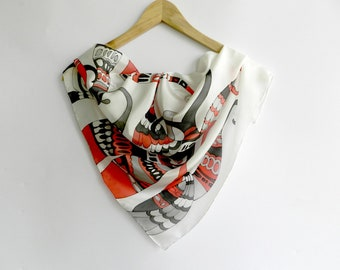 Octopus red and black silk hand painted scarf. Abstract octopus scarf. Red black white silk scarf. Made to order.