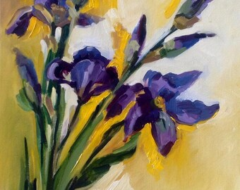 Iris flowers oil painting. Original oil painting on canvas-carboard. Ready to ship.