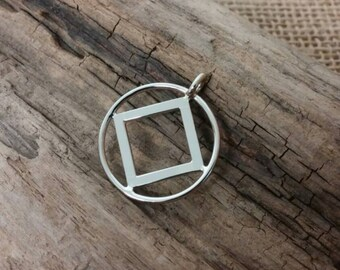14k white or yellow gold Narcotics Anonymous pendant