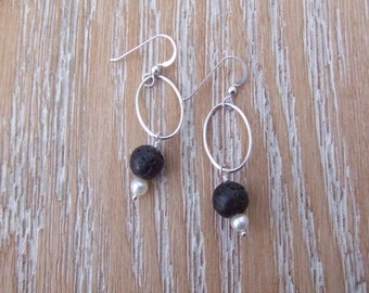 Lava rock, freshwater pearl, and sterling silver earrings
