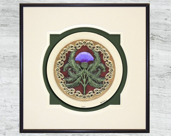 Scottish Thistle - Cast Paper - Celtic art - Scottish art - Scottish Gaelic - Scotland - Scottish clan - Emblem of Scotland