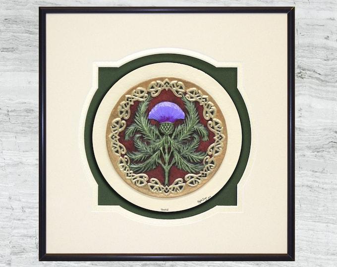 Scottish Thistle - Cast Paper - Celtic art - Scottish art - Scottish Gaelic - Scotland - Scottish clan - Emblem of Scotland