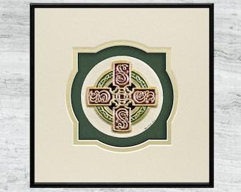 Celtic Sun Cross - Cast Paper - Irish Art - Scottish - Celtic Knot Work - High Cross - Irish - Ireland - Wall Art