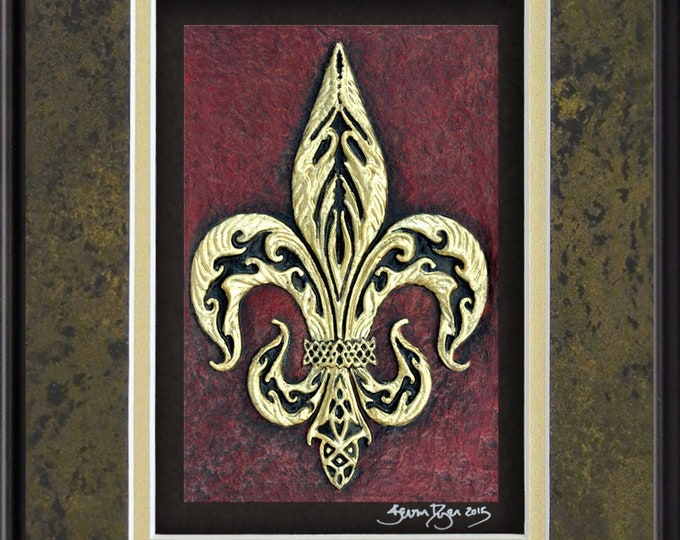 Fleur-De-Lis - Cast Paper - Heraldry - Flower of the Lily - French - Scottish - Welsh - England