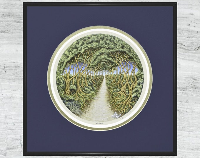 "Round Road - Framed  Digital Art Print - 12"" x 12"""