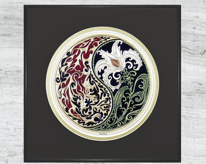 Duality - Framed Digital Art Print - Fantasy art - Dragon - Lily - Yin-Yang - spiritual