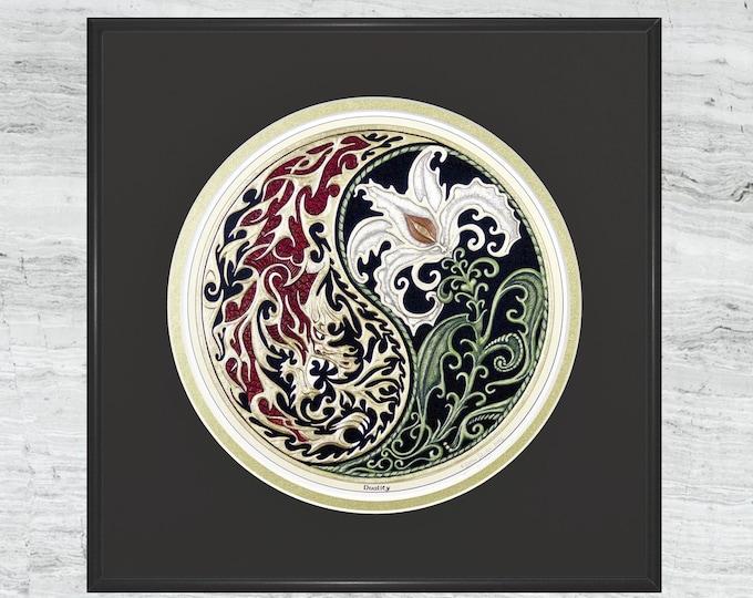 Duality - Digital Art Print - Fantasy art - Dragon - Lily - Yin-Yang - spiritual -  balance of opposites - zen - Celtic duality art- zen art