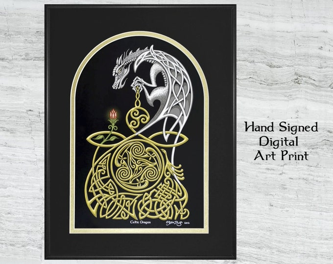 "Celtic Dragon - Framed Digital Art Print - 12"" x 16"""