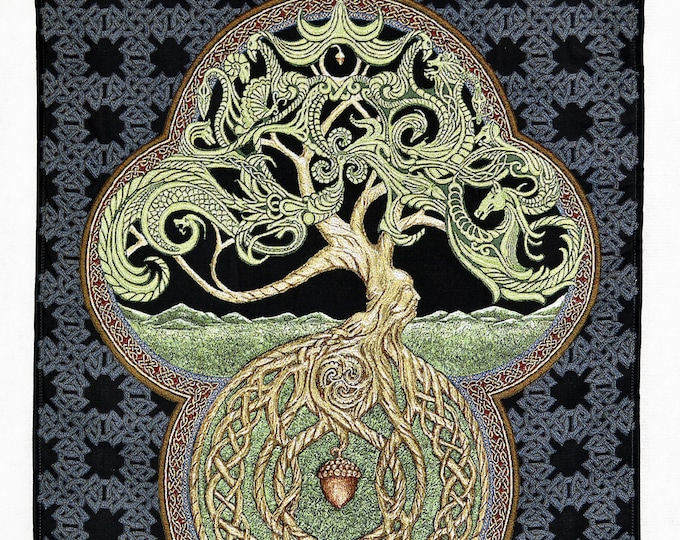 "Celtic Tree of Life 25"" x 35"" Woven Tapestry"