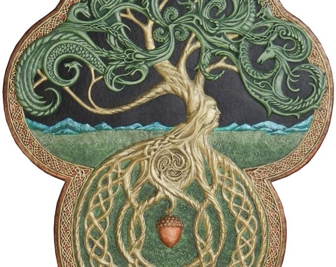The Celtic Tree of Life- Cast Paper - Large - Tree - Green - Arbor - Big Tree - Great Oak - Acorn - yggdrasil