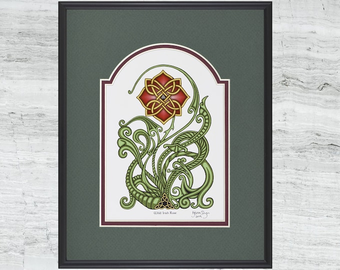 "Wild Irish Rose – Framed  Digital Art Print 8"" x 10"""