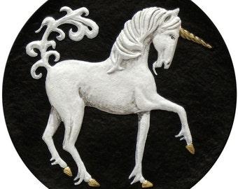 Unicorn - Cast Paper - Fantasy art  - legendary creature - mythology - magical horse