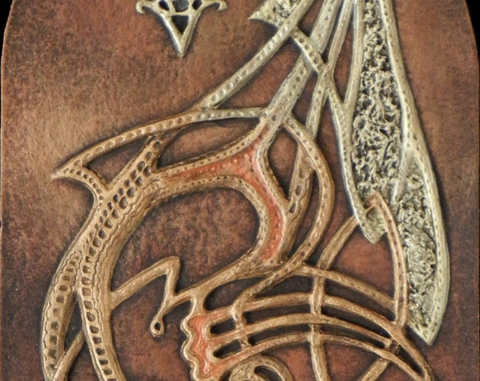Dragon Knot - Cast Paper - Fantasy art - Celtic Dragon - Gold Dragon - Drake - Draco - Celtic Drake - Celtic Knotwork