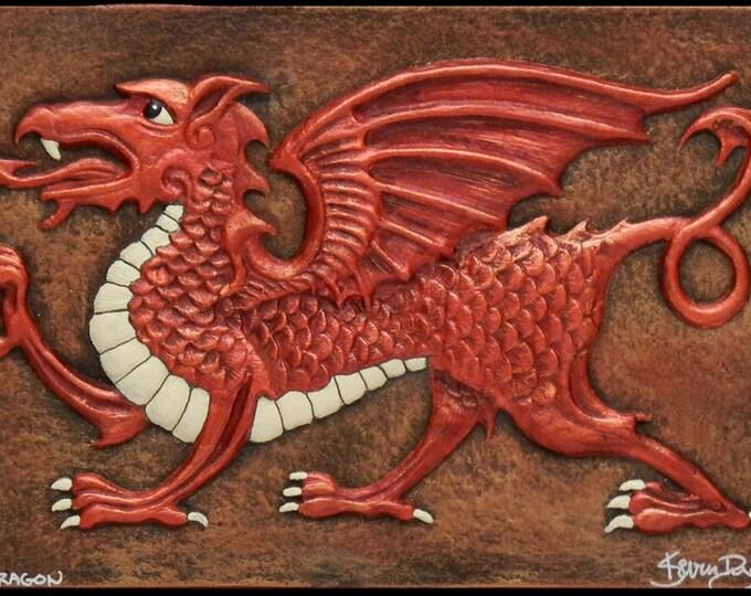 Welsh Dragon - Cast Paper - Fantasy art - Celtic Dragon - Celtic Knot -  Draco - Wyrm - Red Dragon