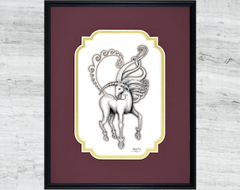 "Unicorn - Framed Digital Art Print - 8"" x 10"""