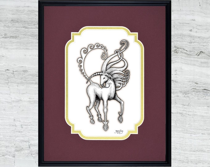 "Unicorn - Framed Digital Art Print - 8"" x 10"""