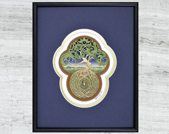 "Celtic Tree of Life - Framed Digital Art Print 8"" x 10"""