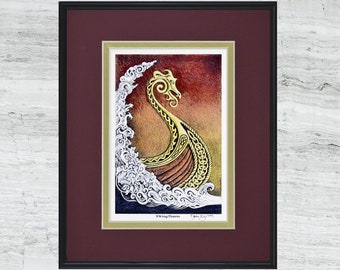 "Viking Dawn - Framed Digital Art Print - 8"" x 10"""
