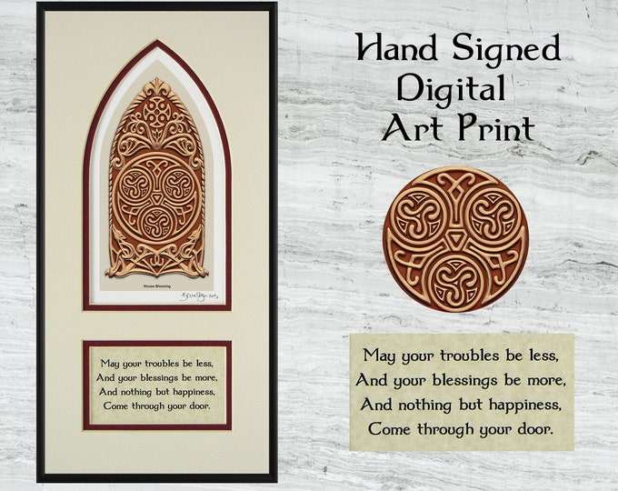 "Celtic House Blessing - Framed Digital Art Print 8"" x 16"""