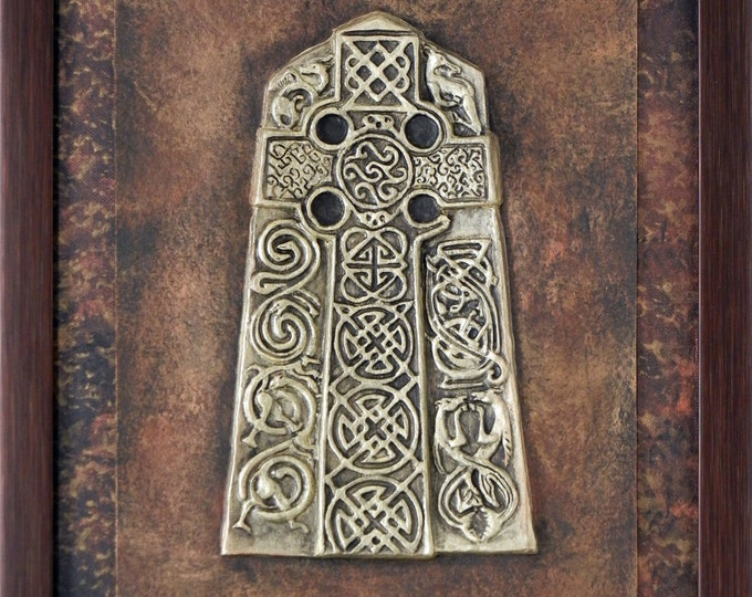 Cross at Angus - Cast Paper - Celtic Cross - Scottish Art  - Irish art - Highlander - Pictish - Stone Cross - wall art