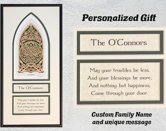 "Personalized Celtic House Blessing - Framed Digital Art Print 8"" x 16"""