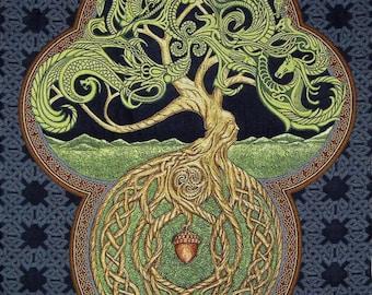 "Celtic Tree of Life 26"" x 36"" Woven Tapestry - Irish, Scottish, Yggdrasil"