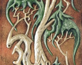 The Mystic's Tree - Cast Paper - Celtic - Druid - psychedelic art