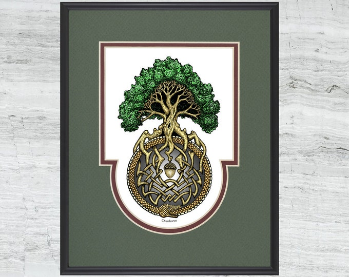 "Ouroboros Tree- Framed Digital Art Print -  8"" x 10"""