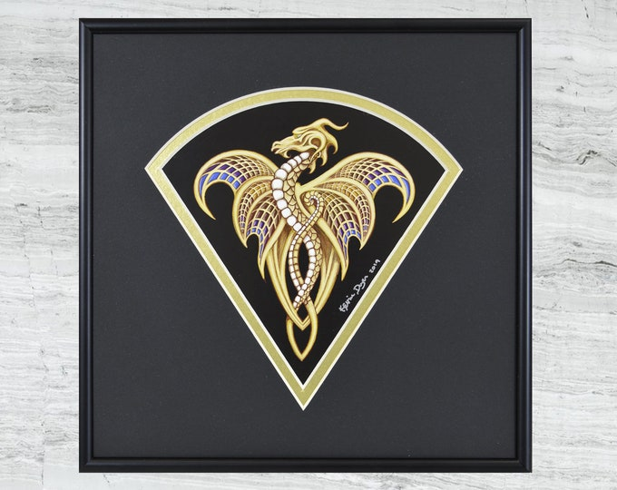 "Fan Dragon - Framed Digital Print - 10"" x 10"""
