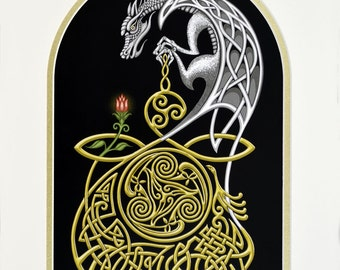 Celtic Dragon - Digital Art Print - Fantasy gift - Irish
