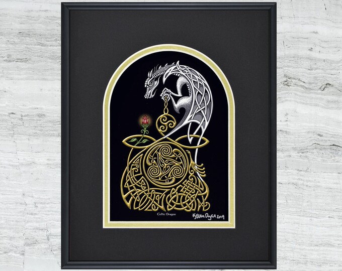 "Celtic Dragon - Framed Digital Art Print 8"" x 10"""