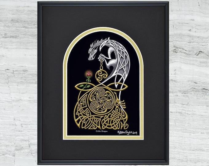 "Celtic Dragon - Framed Digital Art Print 8"" x 10"""