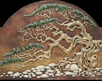 River Stone - Cast Paper - Pine Tree - Nature - River Rocks - Hand Painted