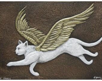 Flight of Fancy - Cast Paper - Fantasy art - Winged Feline- Angel Cat - Kitty Fairy - White Cat