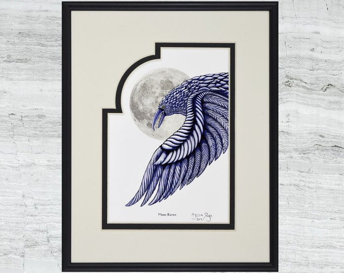 "Moon Raven -Framed Digital Art Print   - 8"" x 10"""