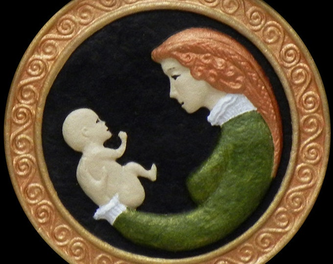 Mother and Child - Cast Paper - Irish Art - Scottish - Celtic Knot  - Baby Shower - Mother's Day - Birth - Motherhood - Daughter - son