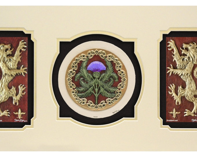 Scottish Triptych - Cast Paper - Celtic art - Scottish art - Scottish Gaelic - Scotland - Scottish clan - Emblem of Scotland