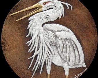 Blue Heron - Cast Paper - bird - water fowl - white bird