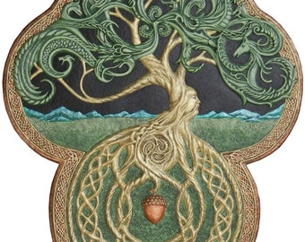 The Celtic Tree of Life- Cast Paper - Large - Tree - Green - Arbor - Big Tree - Great Oak - Acorn - yggdrasil