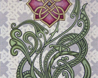 "Wild Irish Rose 26"" x 36"" Woven Tapestry - Celtic Knot, Ireland"
