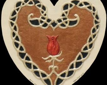 Celtic Love Knot - Cast Paper - Celtic knot - wedding gift - Irish art - Irish Rose - Celtic art - Scottish art - heart - romantic - love